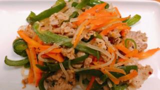 野菜と豚肉のマロニー炒め
