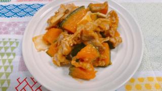 かぼちゃと豚肉の梅しょうゆ炒め