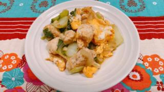 青梗菜と鶏ささみのガラムマサラ炒め